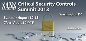 SANS Critical Security Controls Summit 2013 - Washington