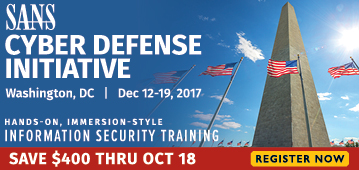 Cyber Defense Initiative 2017 - DC