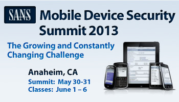 Welcome to Mobile Device Security Summit 2013