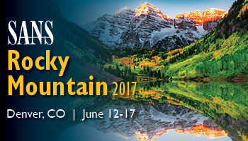 Train in beautiful Colorado at SANS Rocky Mountain 2017