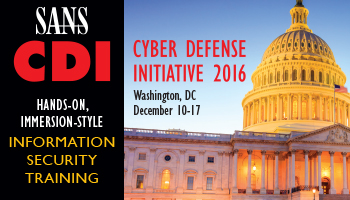 Welcome to  Cyber Defense Initiative<sup>&reg;</sup> 2016