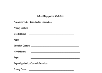 Pen Test Rules of Engagement Worksheet