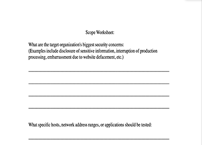 Pen Test Scope Worksheet